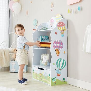 Child's Hot Air Balloons Wooden Bookshelf, , default
