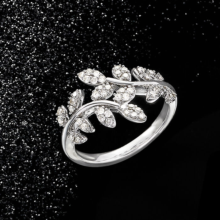 .33 ct. t.w. Diamond Laurel Leaf Bypass Ring in Sterling Silver