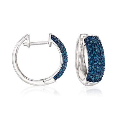 .50 ct. t.w. Blue Diamond Hoop Earrings in Sterling Silver