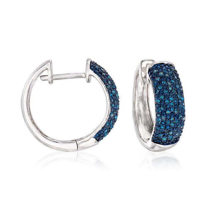 .50 ct. t.w. Blue Diamond Hoop Earrings in Sterling Silver