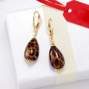 Italian Leopard Murano Glass Drop Earrings in 18kt Gold Over Sterling