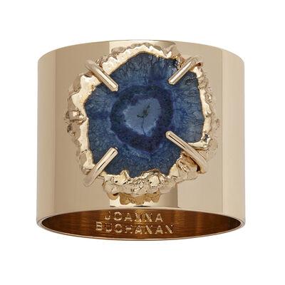 Joanna Buchanan Set of 2 Indigo Blue Crystal Quartz Napkin Rings