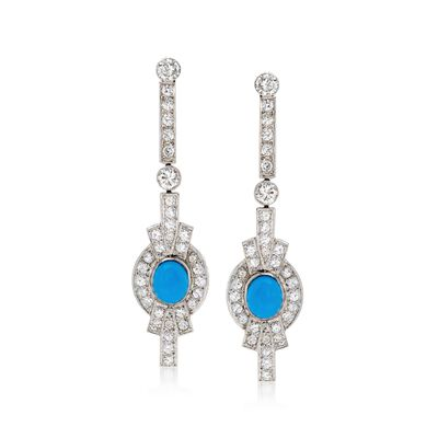 C. 1990 Vintage 7.8x6.5mm Synthetic Turquoise and 3.00 ct. t.w. Diamond Drop Earrings in Platinum, , default