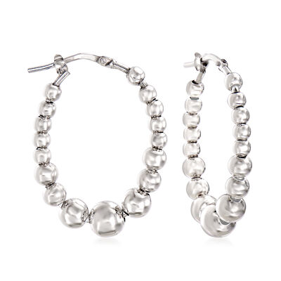Italian Sterling Silver Beaded Oval Hoop Earrings, , default