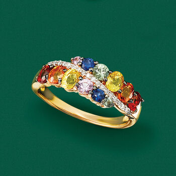 2.00 ct. t.w. Multicolored Sapphire Ring with Diamond Accents in 14kt Yellow Gold