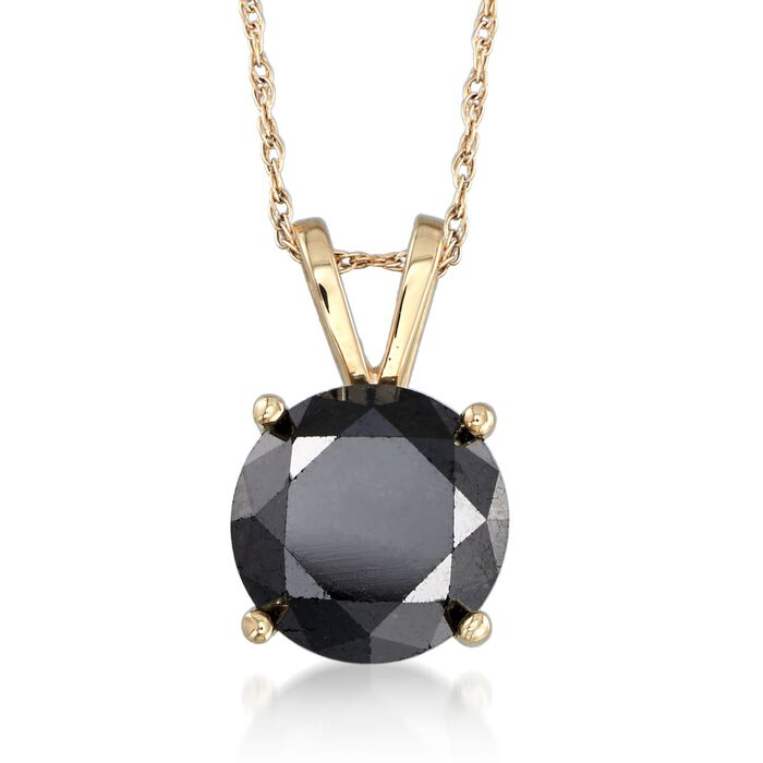 """3.00 Carat Black Diamond Solitaire Necklace in 14kt Yellow Gold. 18"""", , default"""