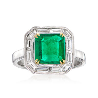 2.70 Carat Emerald and .64 ct. t.w. Diamond Ring in 18kt Two-Tone Gold
