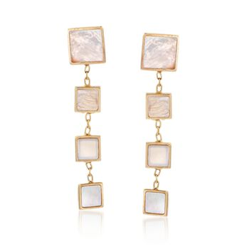 Italian Mother-Of-Pearl Graduated Square Drop Earrings in 14kt Yellow Gold , , default