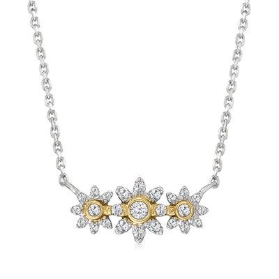 .18 ct. t.w. Diamond Flower Necklace in Sterling Silver with 14kt Yellow Gold
