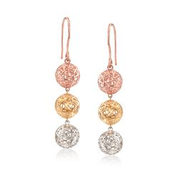 14kt Tri-Colored Gold Three-Tier Openwork Ball Drop Earrings, , default