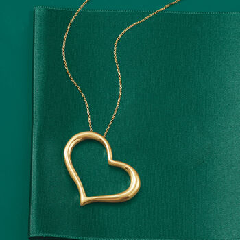 Italian 18kt Yellow Gold Large Open-Space Sideways Heart Drop Necklace, , default