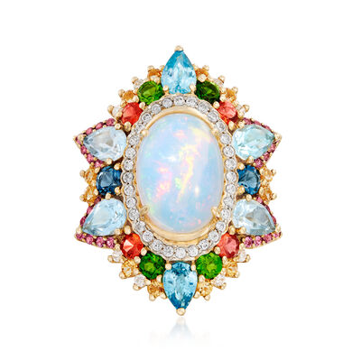 Ethiopian Opal and 3.60 ct. t.w. Multi-Gemstone Ring in 14kt Yellow Gold, , default
