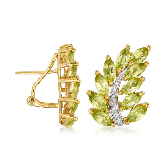 5.25 ct. t.w. Peridot and .11 ct. t.w. Diamond Leaf Earrings in 14kt Gold Over Sterling