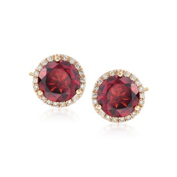 5.00 ct. t.w. Garnet and .21 ct. t.w. Diamond Stud Earrings in 14kt Yellow Gold , , default