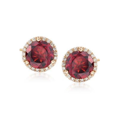 5.00 ct. t.w. Garnet and .21 ct. t.w. Diamond Stud Earrings in 14kt Yellow Gold, , default