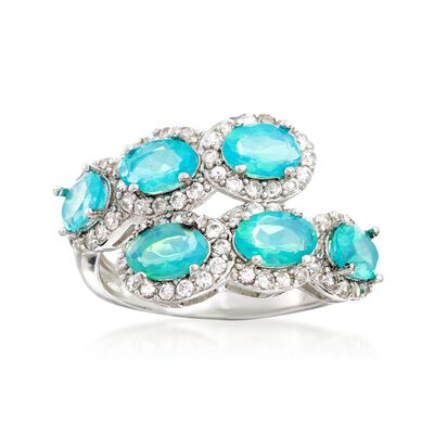 4.50 ct. t.w. Apatite and .90 ct. t.w. White Zircon Double-Row Ring in Sterling Silver, , default