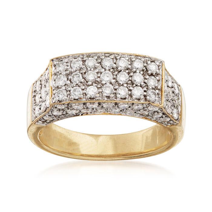 C. 1990 Vintage 1.50 ct. t.w. Diamond Rectangular Top Ring in 18kt Yellow Gold. Size 7