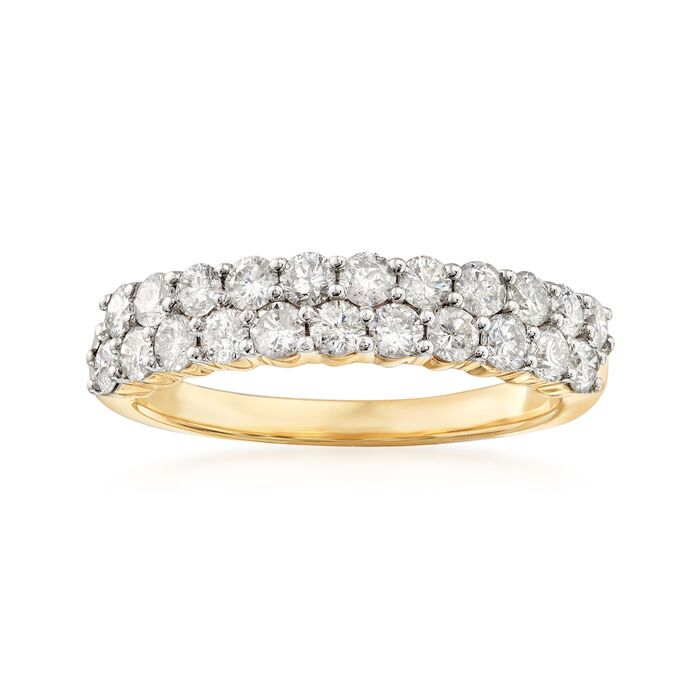 1.00 ct. t.w. Diamond Two-Row Ring in 14kt Yellow Gold, , default