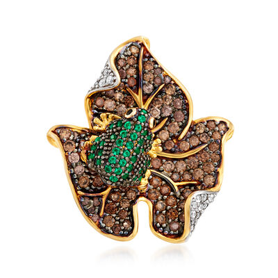 2.03 ct. t.w. Multicolored CZ Frog on Leaf Ring in 18kt Gold Over Sterling