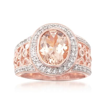2.30 Carat Morganite and .40 ct. t.w. White Zircon Ring in 18kt Rose Gold Over Sterling, , default