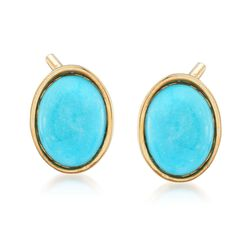 Italian Turquoise Stud Earrings in 14kt Yellow Gold, , default