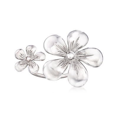 Italian Double-Flower Ring in Sterling Silver, , default