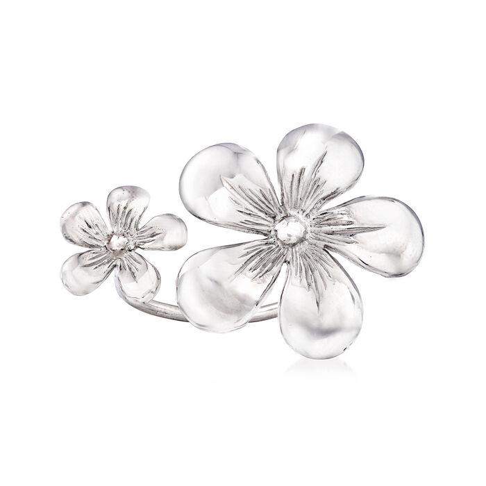 Italian Double-Flower Ring in Sterling Silver