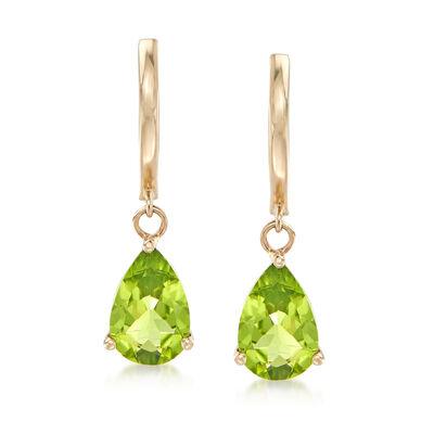 2.50 ct. t.w. Peridot Drop Earrings in 14kt Yellow Gold, , default