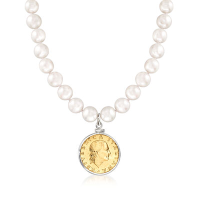 8.5-9.5mm Cultured Pearl Necklace with Lira Coin Charm in Sterling Silver, , default
