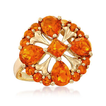 3.80 ct. t.w. Orange Citrine Ring in 14kt Yellow Gold, , default
