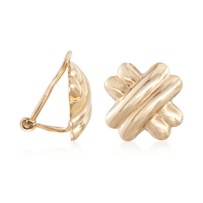 14kt Yellow Gold X Clip-On Earrings