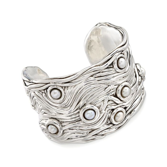 6-6.5mm Cultured Button Pearl Cuff Bracelet in Sterling Silver