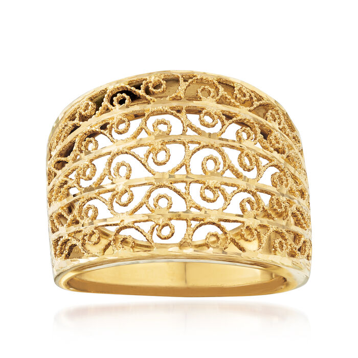 Italian 18kt Yellow Gold Filigree Dome Ring, , default