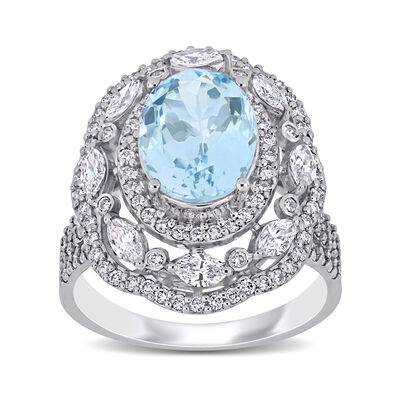 2.40 Carat Aquamarine and 1.17 ct. t.w. Diamond Ring in 14kt White Gold, , default