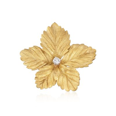C. 1970 Vintage Tiffany Jewelry .25 Carat Diamond Floral Pin in 18kt Yellow Gold, , default