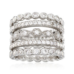 2.80 ct. t.w. CZ Jewelry Set: Five Eternity Bands in Sterling Silver, , default