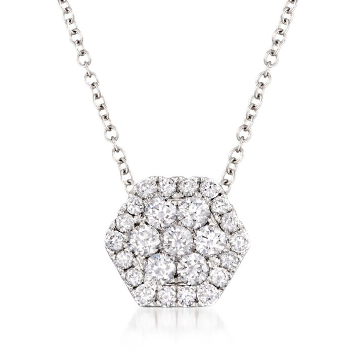 """.49 ct. t.w. Diamond Honeycomb Pendant Necklace in 14kt White Gold. 18"""""""