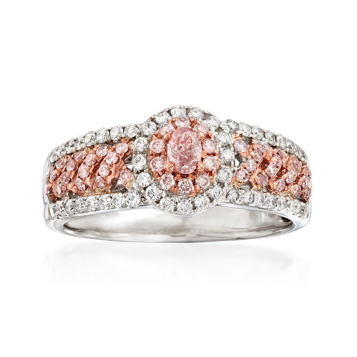 .71 ct. t.w. Pink and White Diamond Ring in 18kt Two-Tone Gold