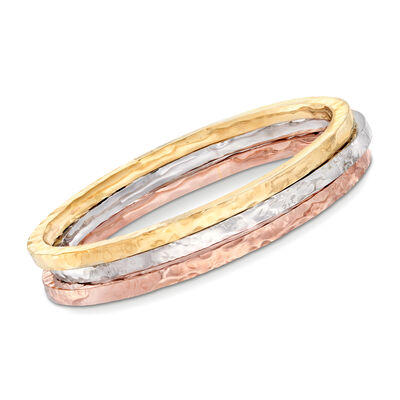 Italian Tri-Colored Sterling Jewelry Set: Three Square-Edge Hammered Bangle Bracelets