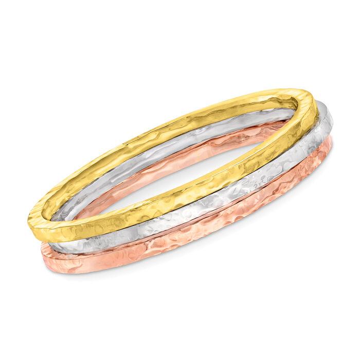 Italian Tri-Colored Sterling Jewelry Set: Three Square-Edge Hammered Bangle Bracelets