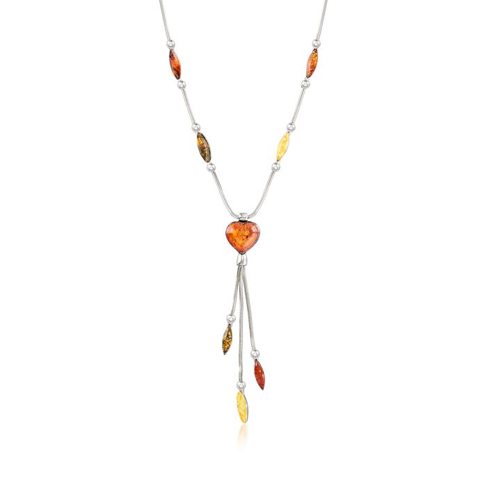 "Tonal Amber Heart Drop Y-Necklace in Sterling Silver. 18"", , default"