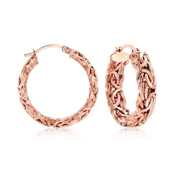 "18kt Rose Gold Over Sterling Silver Byzantine Hoop Earrings. 1"", , default"