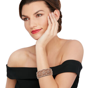 "C. 1990 Vintage 3.00 ct. t.w. Diamond Flower Bangle Bracelet in 18kt Two-Tone Gold. 7"""