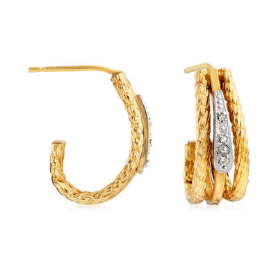 C. 1990 Vintage 14kt Two-Tone Gold J-Hoop Earrings with Diamond Accents, , default