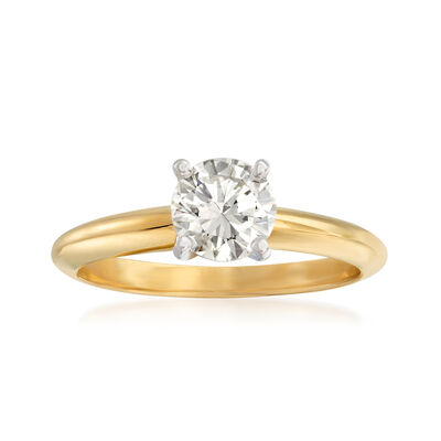 .90 Carat Certified Diamond Solitaire Ring in 14kt Yellow Gold