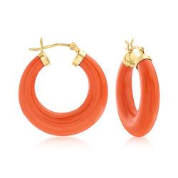 "Coral Hoop Earrings in 14kt Yellow Gold. 1 1/8"", , default"