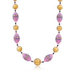 "Italian Purple and Golden Murano Glass Bead Necklace With 18kt Gold Over Sterling. 18"", , default"