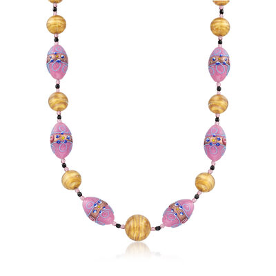 Italian Purple and Golden Murano Glass Bead Necklace with 18kt Gold Over Sterling, , default