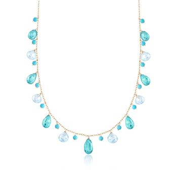 """11.00 ct. t.w. Apatite and 10.00 ct. t.w. Blue Topaz Necklace With Turquoise Beads in 14kt Yellow Gold. 16.25"""", , default"""