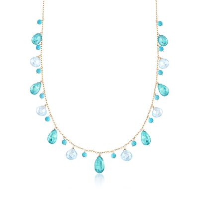 11.00 ct. t.w. Apatite and 10.00 ct. t.w. Blue Topaz Necklace With Turquoise Beads in 14kt Yellow Gold, , default